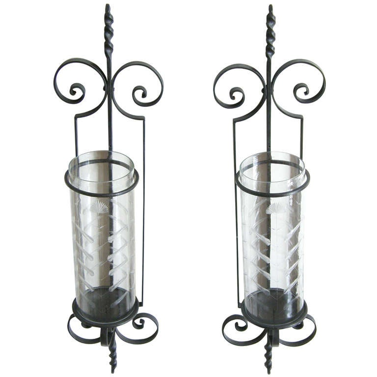 Wall Sconce Candle Holder Wrought Iron : Giant Wrought Iron Candle Sconces at 1stdibs