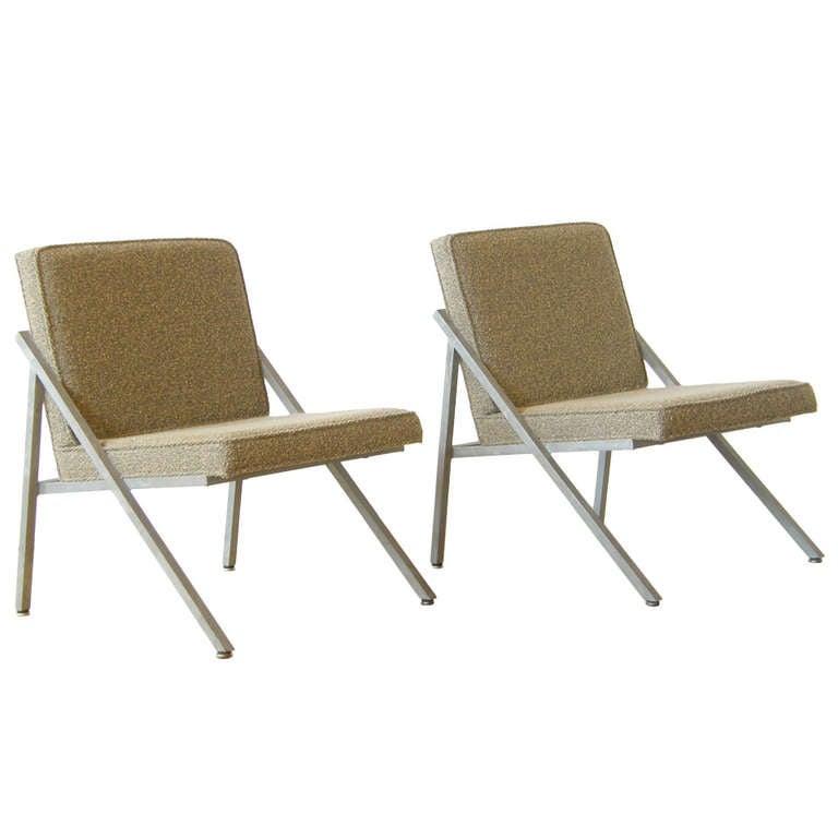 Pair of Angular Lounge Chairs