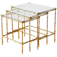 Set of Three Gilt Iron Faux Bamboo Nesting Tables with Glass Tops