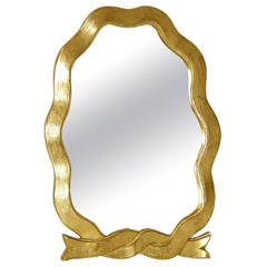 Italian Gilt Wood Table Top Vanity Mirror with Ribbon Shaped Frame