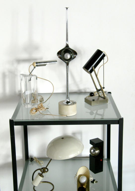 Italian Arteluce Table Lamp by Filippo Panseca Acrylic Block with Articulated Arm