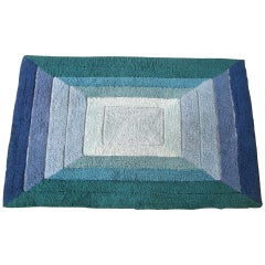 Small Geometric Op Art Rug with Graduated Rectangles Design in Blue and Green