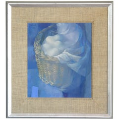 """""""Basket of Eggs"""" Painting on Board by Chicago Artist Stanley Mitruk 1958"""