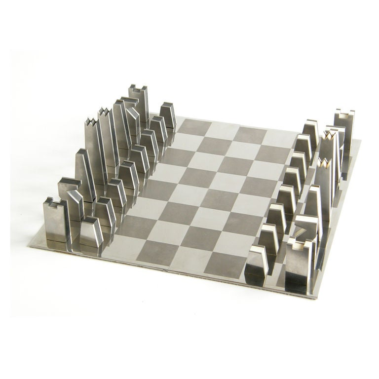 Steel Chess Set stainless steel chess set at 1stdibs