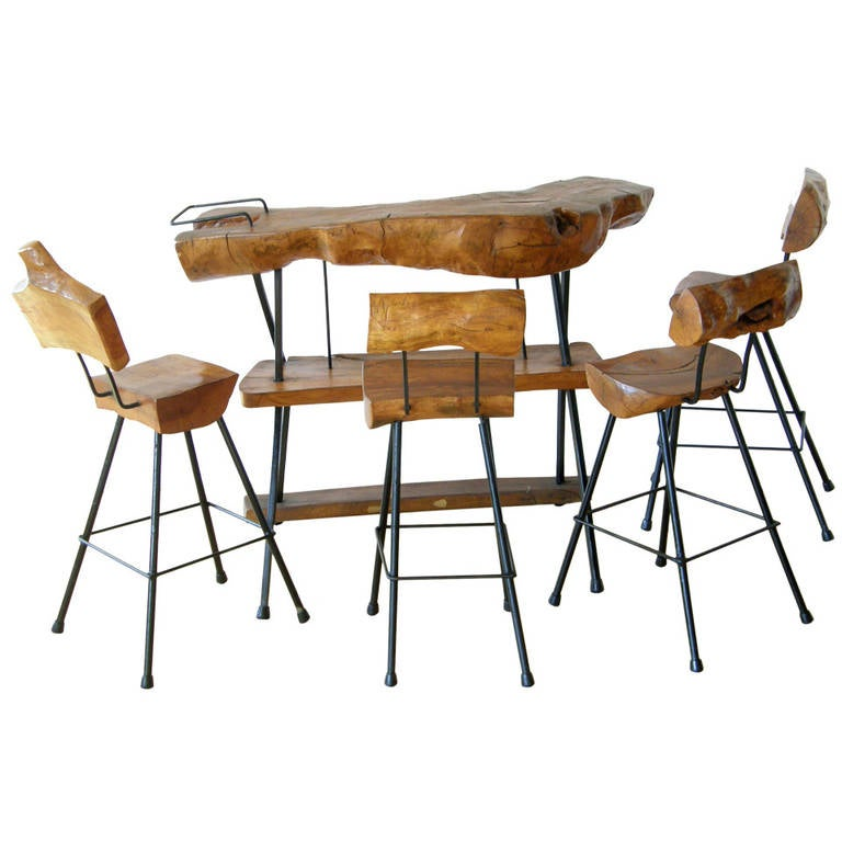 Log Bar With Four Stools At 1stdibs