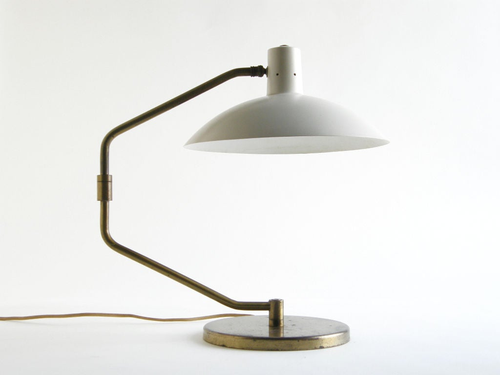 20th Century Clay Michie Table Desk Lamp for Knoll with Swiveling Arm and Adjustable Shade For Sale