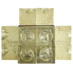 Sculptural Circles and Squares Molded Italian Glass Cubes Table Lamp