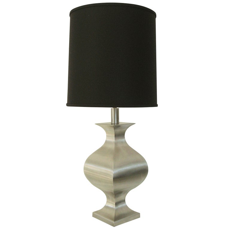 French Brushed Stainless Steel Table Lamp By Francois See For Maison Jansen  For Sale