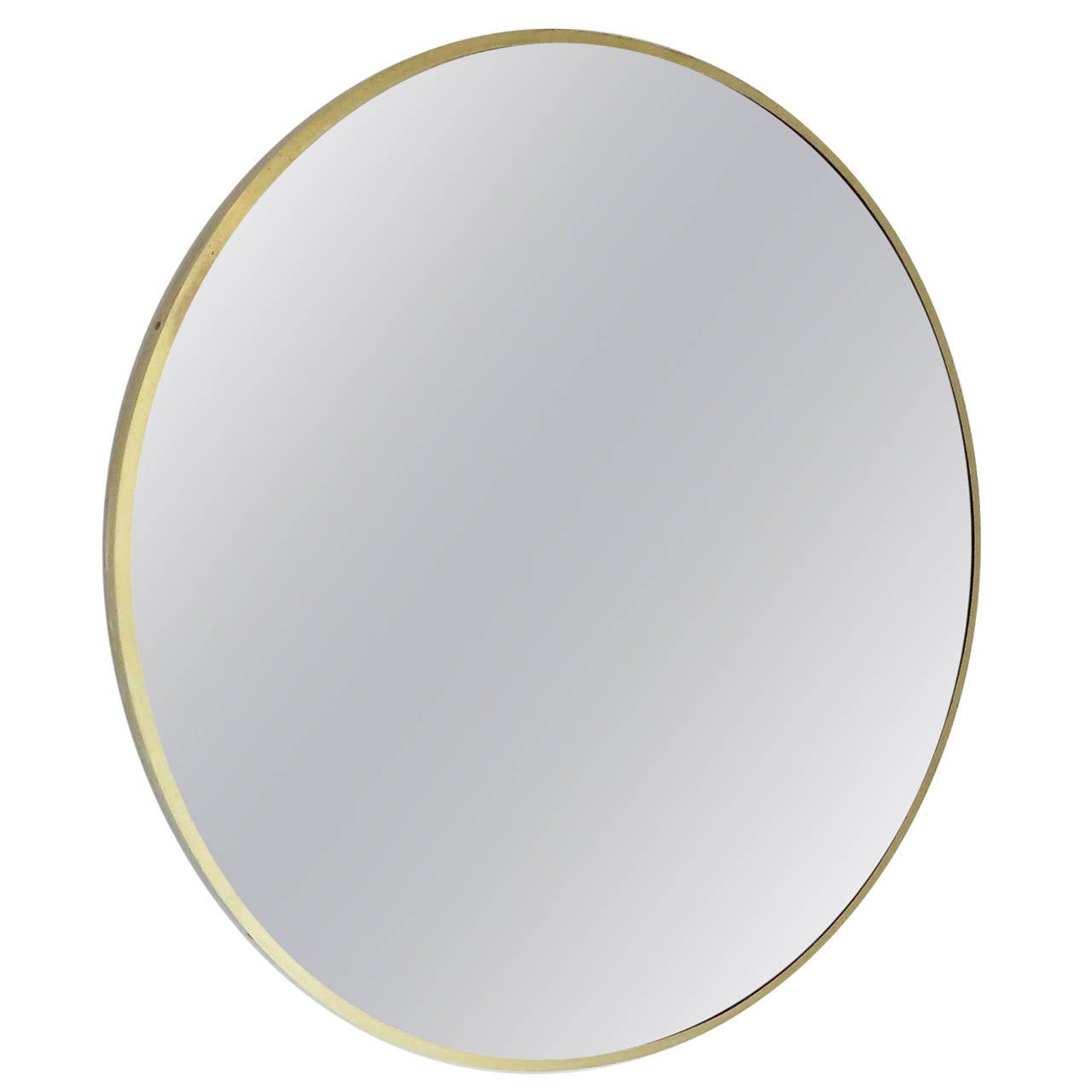 Italian brass beveled round mirror with bronze tone glass for Circle mirror
