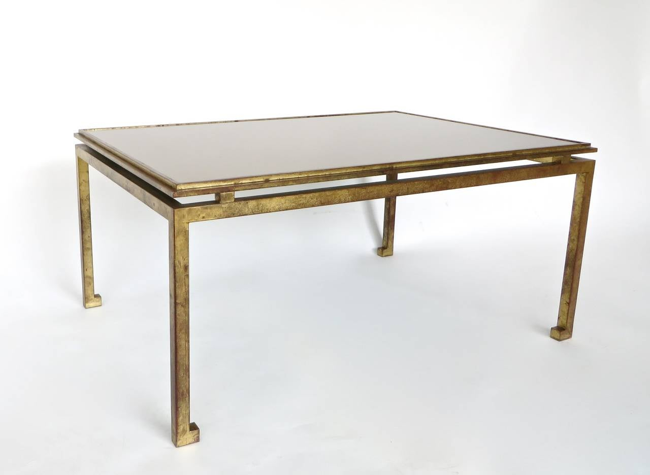 Maison Ramsay French Patina Gold Leaf Wrought Iron Coffee Table 3