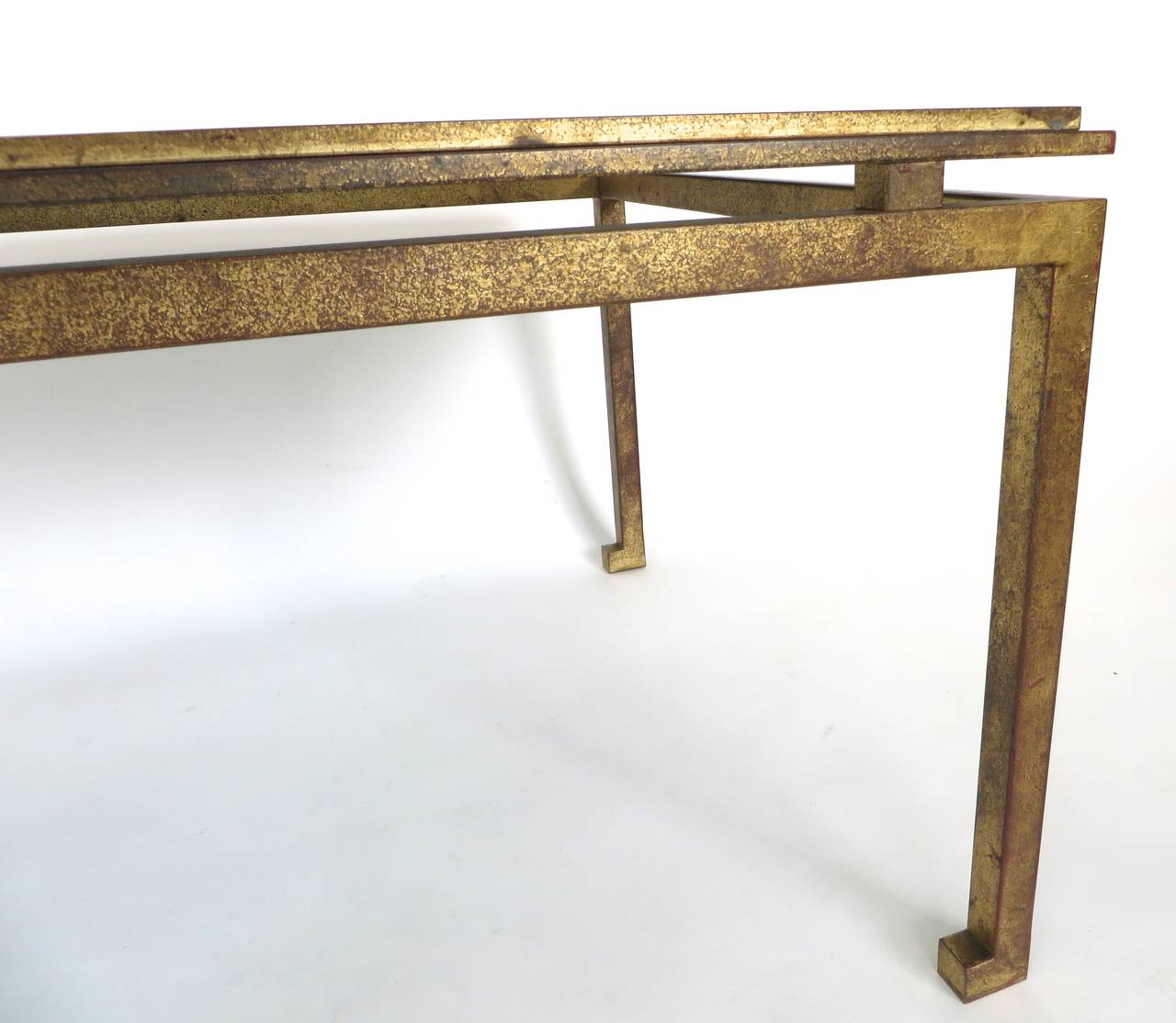 French Gold Coffee Table: Maison Ramsay French Patina Gold Leaf Wrought Iron Coffee