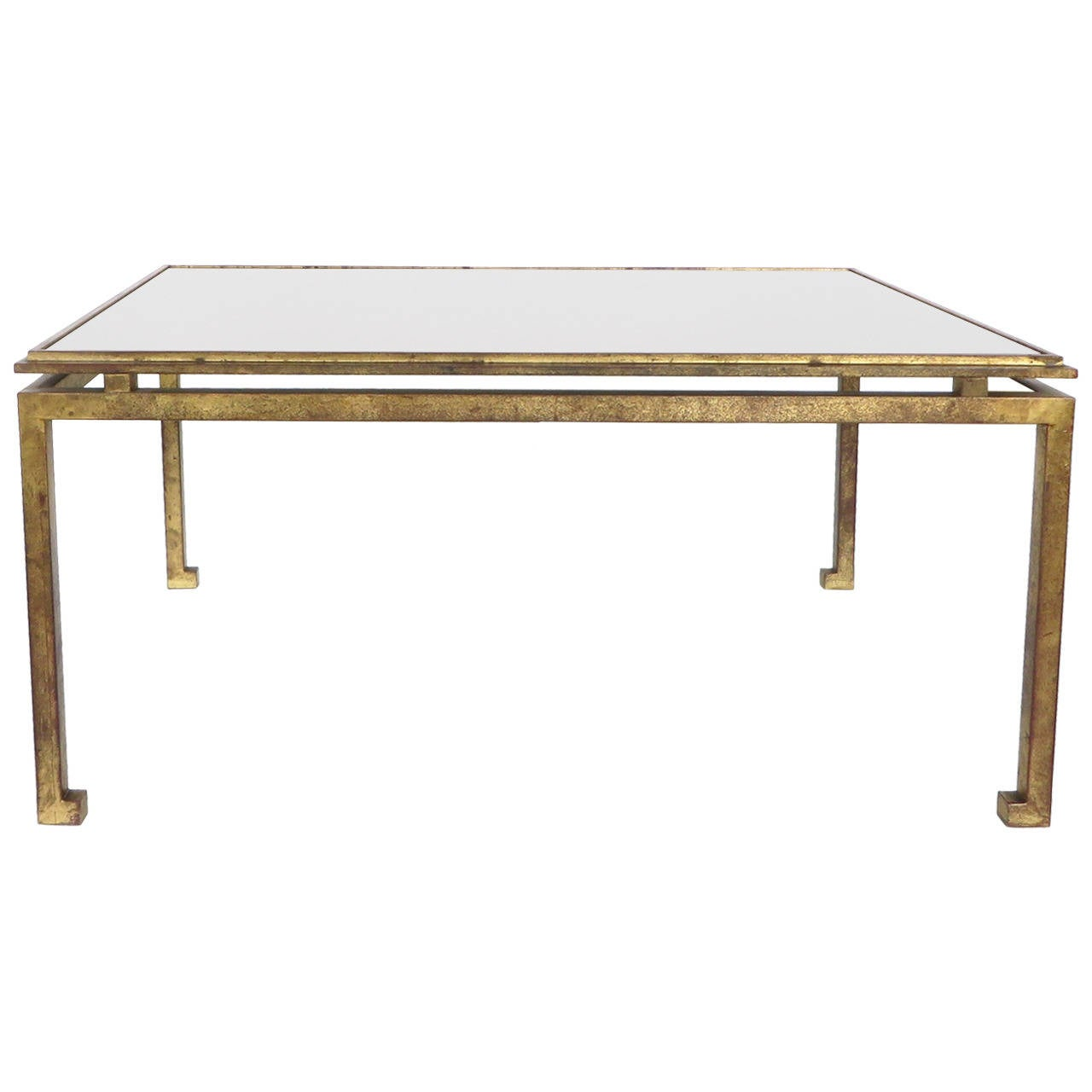 Maison Ramsay French Patina Gold Leaf Wrought Iron Coffee Table At 1stdibs