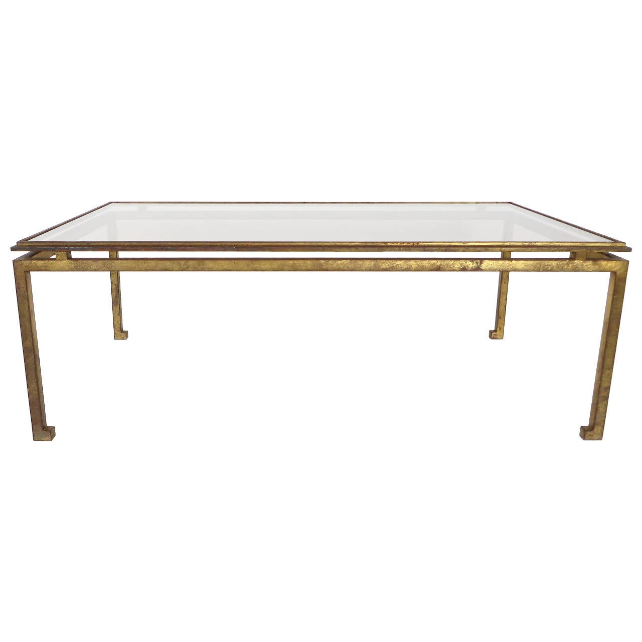 Maison Ramsay Superb Patina Gold Leaf Wrought Iron Rectangular Coffee Table a -> Gold Rectangle Table