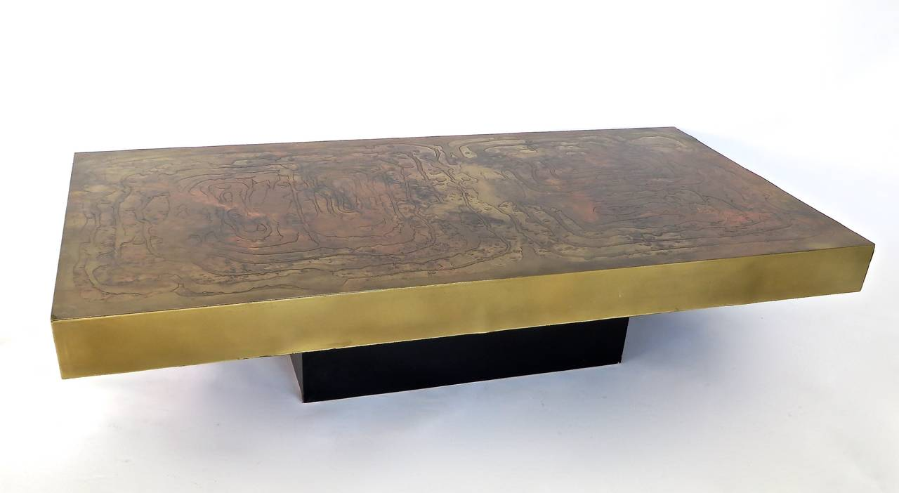 Belgian Coffee Table With Etched Raised Brass And Patinated Top Circa 1970s At 1stdibs