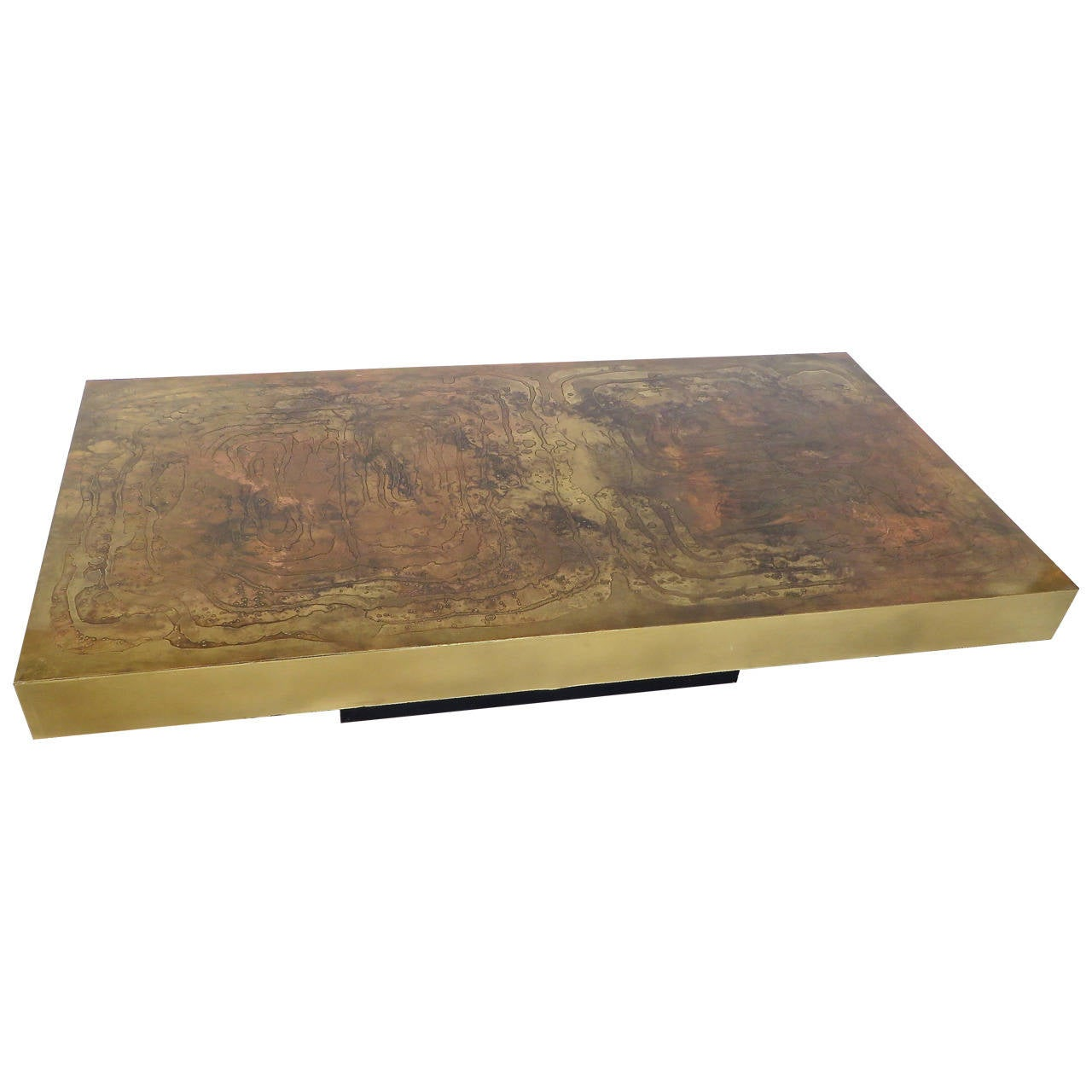 Belgian Coffee Table With Etched Raised Brass And Patinated Top Circa 1970 At 1stdibs