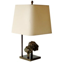 French, Pyrite Specimen Table Lamp by Willy Daro