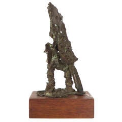 Abstract Bronze Figurative Sculpture on Walnut Base
