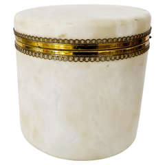 Decorative Italian Alabaster Round Dresser Box