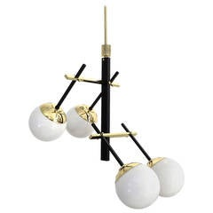 Italian Black Lacquered Brass and Glass Globe Chandelier by Stilnovo