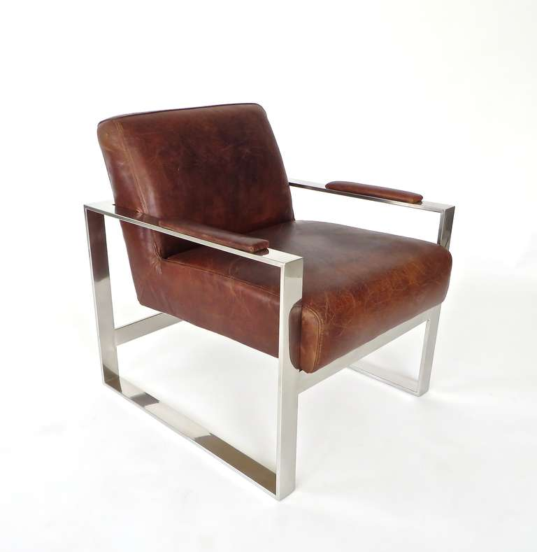 Charmant Mid Century Modern Tobacco Brown Leather And Nickel Chrome French Lounge  Chairs C 1970 For