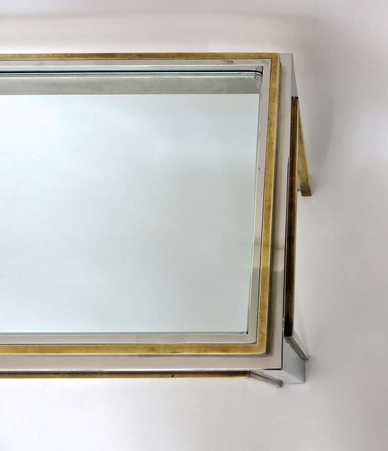 Long Low Coffee Table: French Extremely Long Low Coffee Table In Brass And Chrome