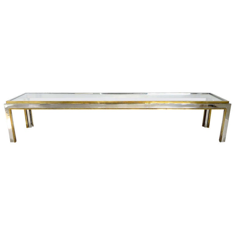 French Extremely Long Low Coffee Table In Brass And Chrome By Jean Charles At 1stdibs