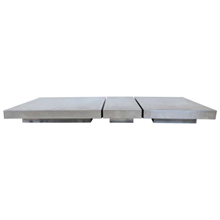 French low steel coffee table in three parts at 1stdibs for Cocktail tables parts