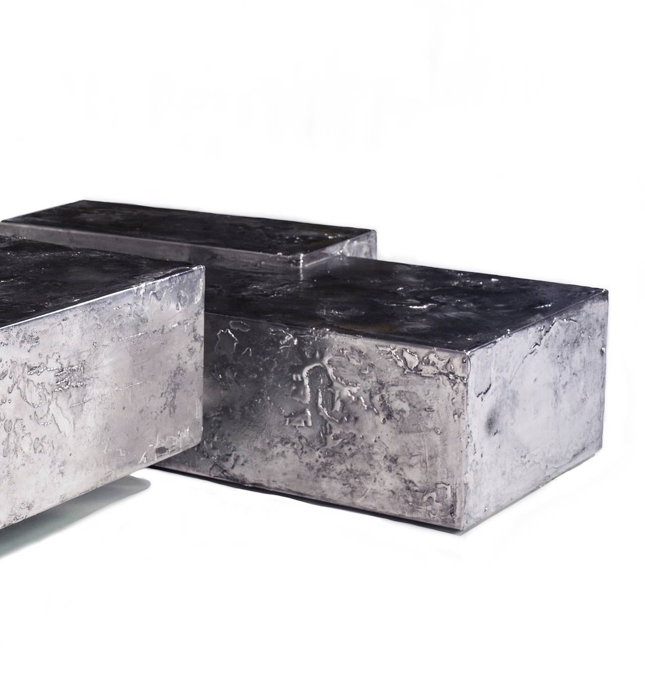 American Landscape Steel and Pewter Coffee Table by Designer Christopher Gentner For Sale