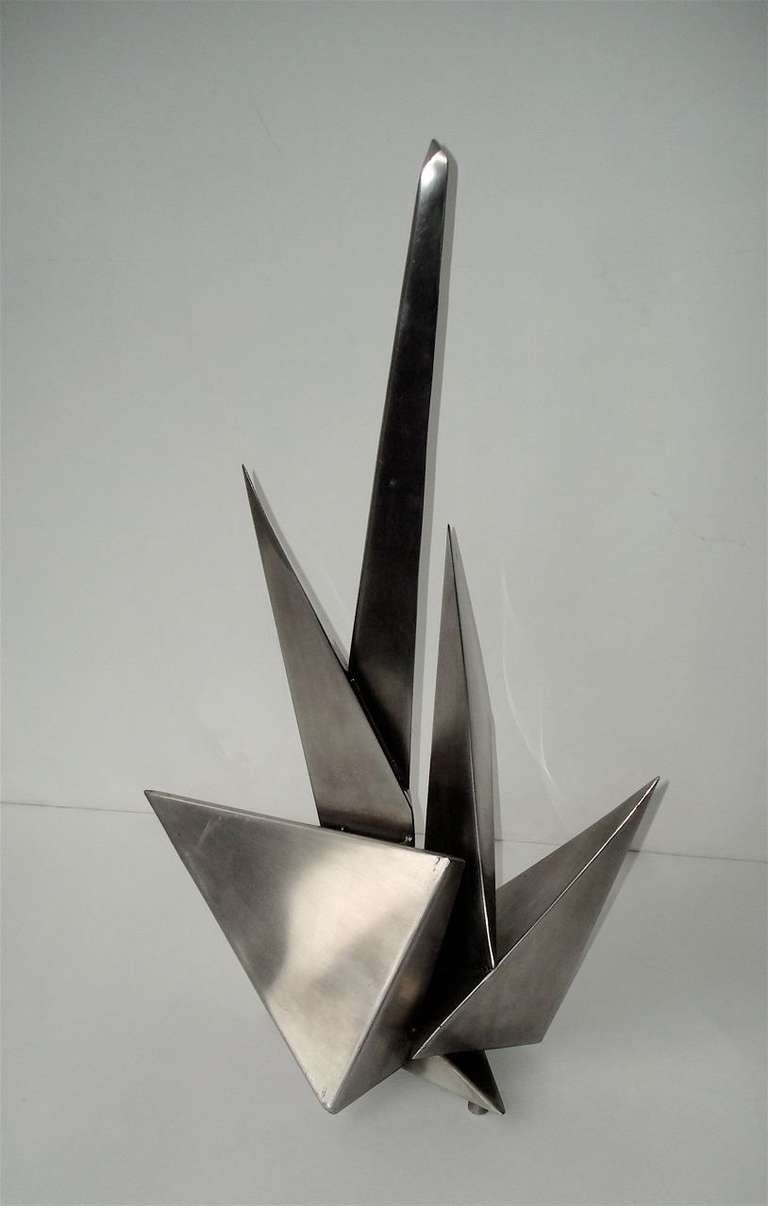 Stainless steel sculpture by french artist attributed to