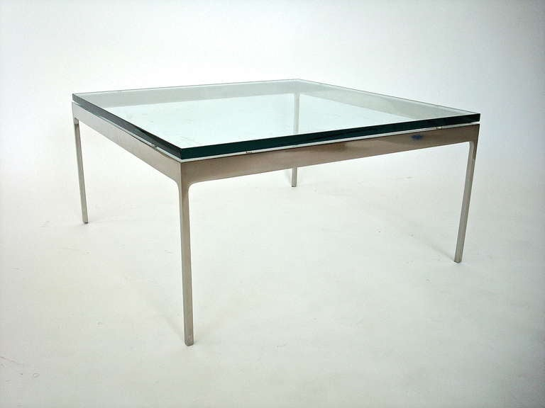Chic, minimalist, low table by Nicos Zographos. Seemless, welded, nickeled brass with original 3/4