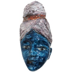 Glazed Italian Ceramic Sculptural Female Head Signed Pucci