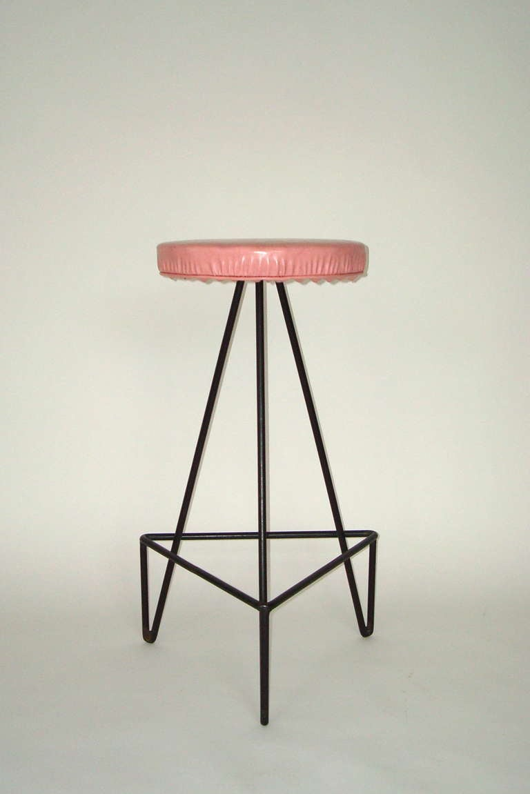Set of 4 American c 1950 Wrought Iron Bar Stools image 8