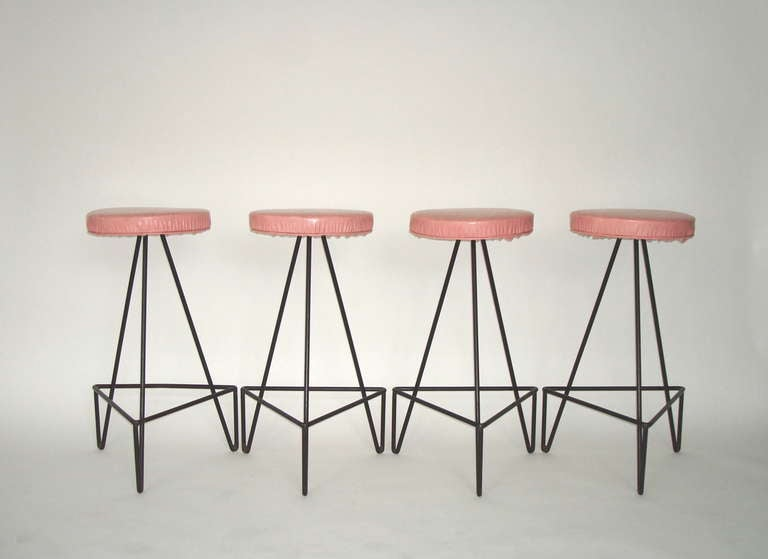 Set of 4 American c 1950 Wrought Iron Bar Stools image 2