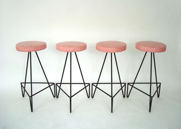 Set of 4 American c 1950 Wrought Iron Bar Stools image 3
