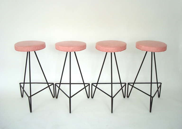Set of 4 American c 1950 Wrought Iron Bar Stools image 4
