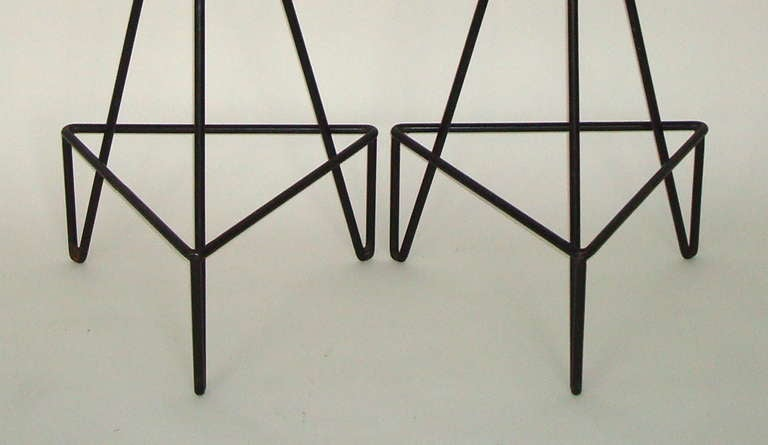 Set of 4 American c 1950 Wrought Iron Bar Stools image 9