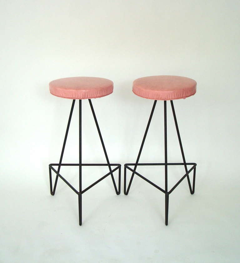 Set of 4 American c 1950 Wrought Iron Bar Stools image 5