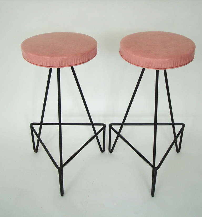 Set of 4 American c 1950 Wrought Iron Bar Stools image 6