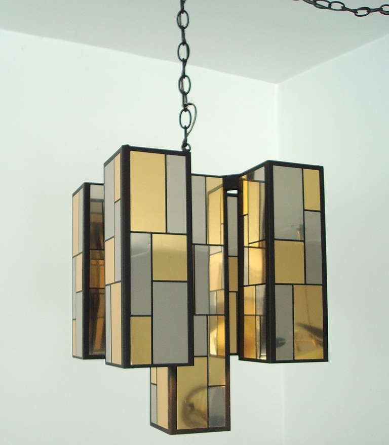 Chrome and brass patchwork chandelier in the style of for Furniture 08081