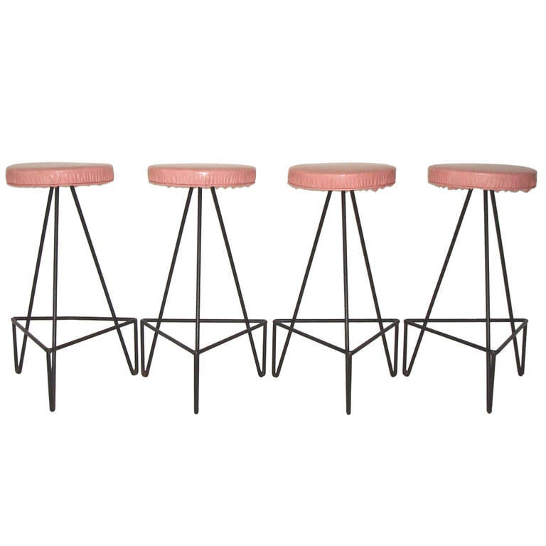 Set of 4 American c 1950 Wrought Iron Bar Stools