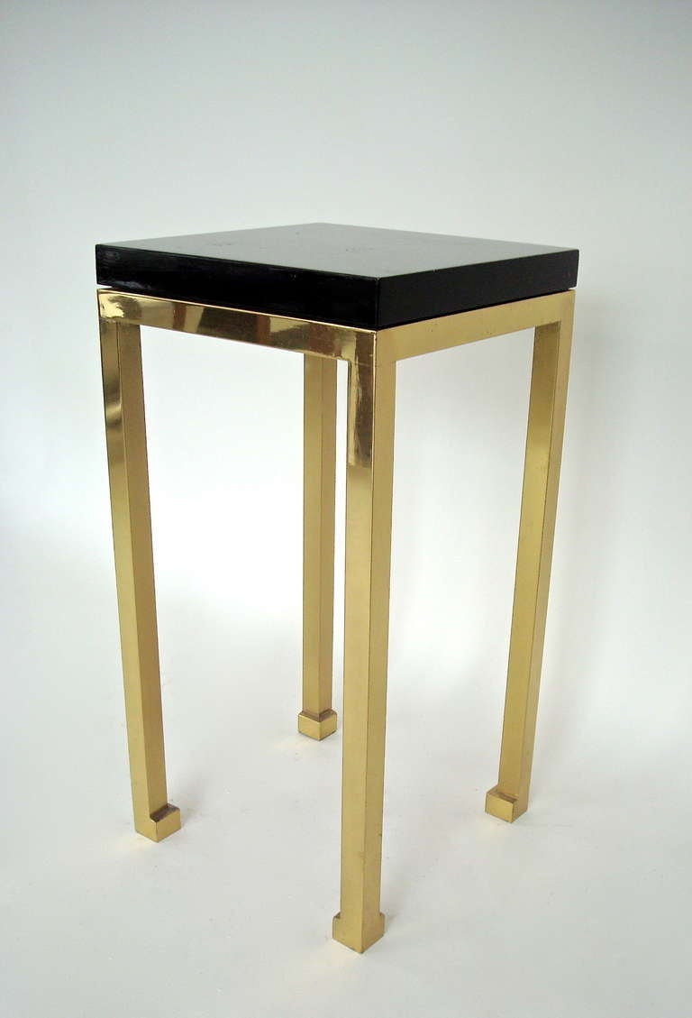 Tall Elegant Black Lacquer and Brass Legs Side Table by Maison Jansen 2