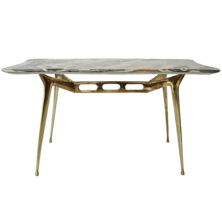Italian Coffee Table With Brass Base And Onyx Top By Cesare Lacca At 1stdibs