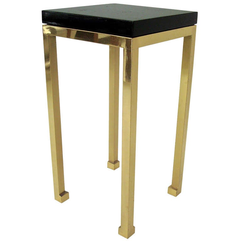 tall elegant black lacquer and brass legs side table by