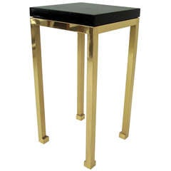 Tall Elegant Black Lacquer and Brass Legs Side Table by Maison Jansen