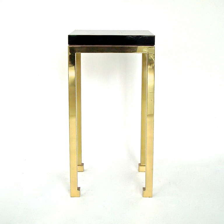 Tall Elegant Black Lacquer and Brass Legs Side Table by Maison Jansen 3