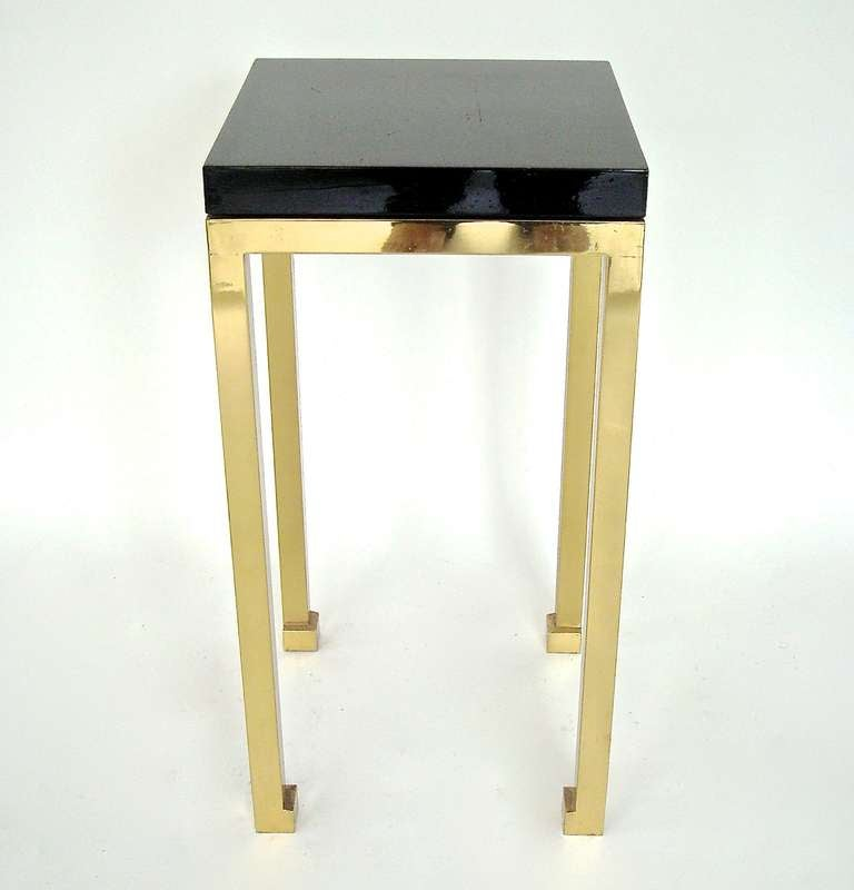 Tall Elegant Black Lacquer and Brass Legs Side Table by Maison Jansen 5