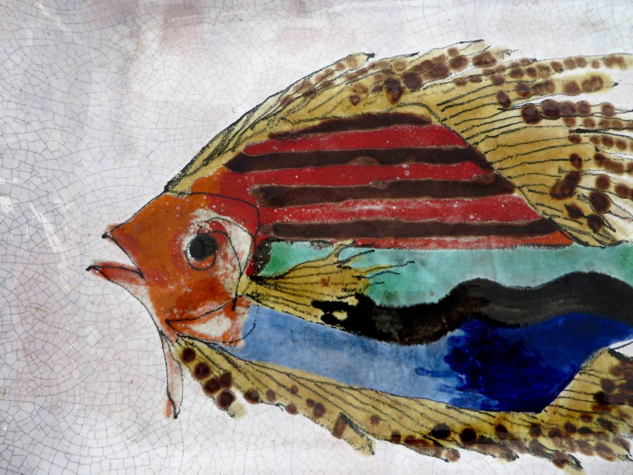 Hand-Painted Colorful French Ceramic Dish from Vallauris with Fish ...