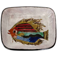 Hand-Painted Colorful French Ceramic Dish from Vallauris with Fish Motif