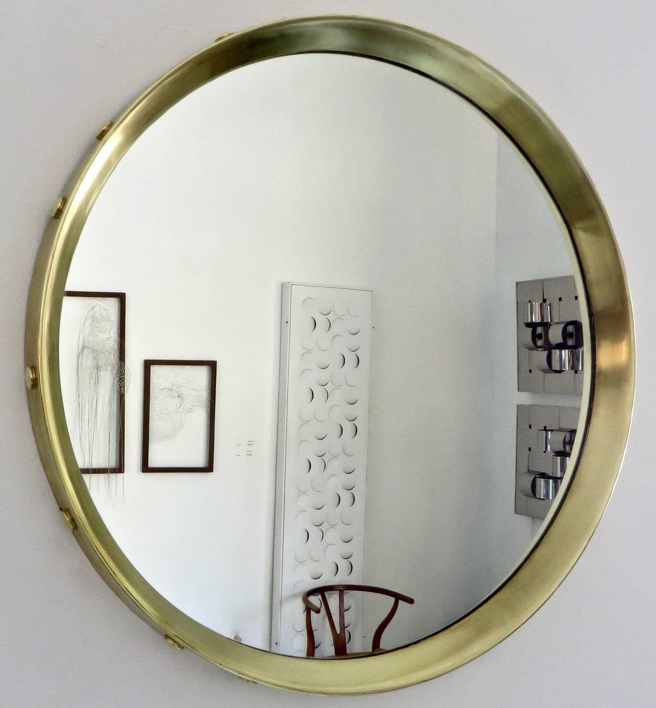 Italian round brass framed mirror with decorative buttons Round framed mirror