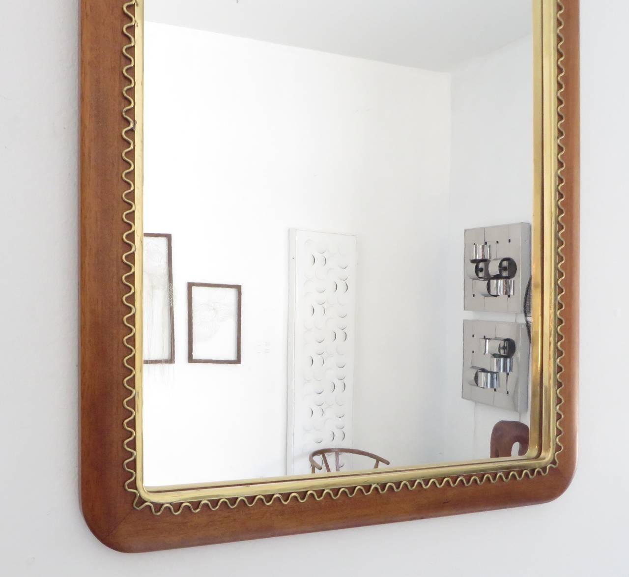 This Swedish Mahogany Mirror with Brass Decorative Border Attributed ...